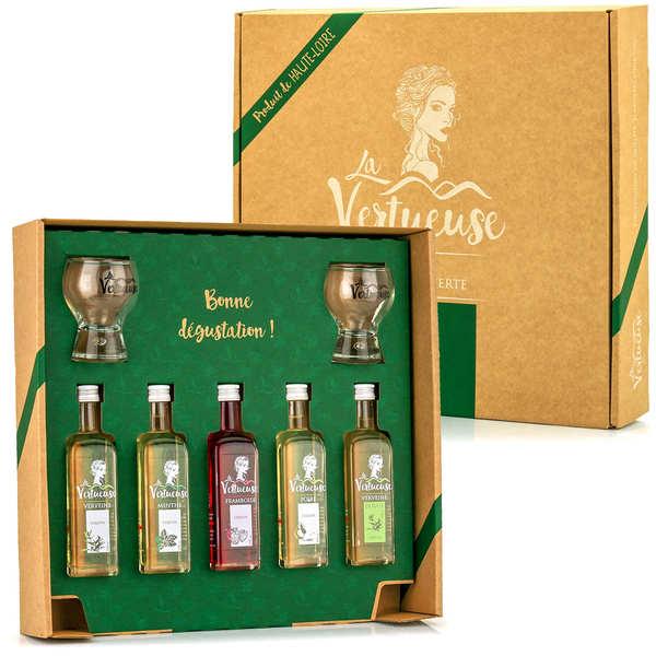 La Vertueuse La Découverte - Coffret 5 liqueurs en mignonnettes et ses 2 verres - Coffret 5 bouteilles + 2 verres