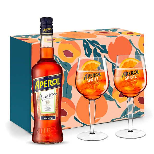 Apérol Coffret dégustation Aperol Spritz 2 verres - Coffret cadeau 1 bouteille 75cl + 2 verres