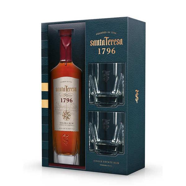 Santa Teresa Rhum Santa Teresa 1796 du Vénézuela coffret 2 verres 40% - Coffret bouteille 70cl + 2 verres
