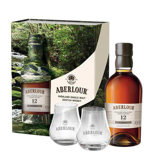 Aberlour Distillery Whisky Aberlour 12 ans Un-chillfiltered coffret 2 verres 48% - Coffret bouteille 70cl + 2 verres