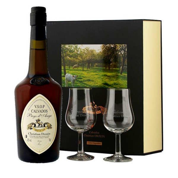 Christian Drouin Calvados Christian Drouin VSOP coffret cadeau 2 verres - Coffret bouteille 70cl + 2 verres