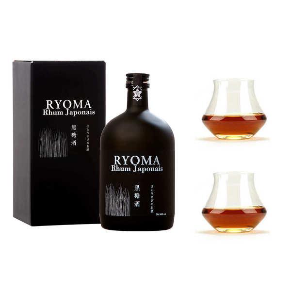 Distillerie Kikusui Rhum japonais Ryoma 7 ans d'âge 40% et ses 2 verres - 1 bouteille de 70cl et 2 verres
