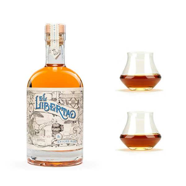 El Libertad Rhum El Libertad - Original Spiced Rum 40% et ses 2 verres - 1 bouteille de 70cl et 2 verres