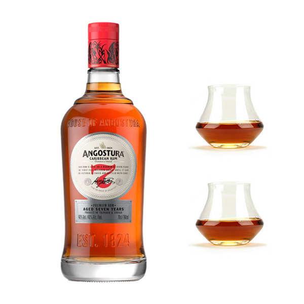 Angostura 7 ans - Rhum de Trinidad & Tobago 40% et ses 2 verres - 1 bouteille de 70cl et 2 verres