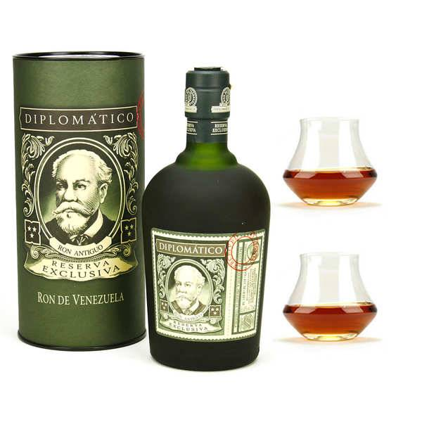 Destilerias Unidas Diplomatico Reserva Exclusiva - Rhum du Venezuela 40% et ses 2 verres - 1 bouteille de 70cl et 2 verres