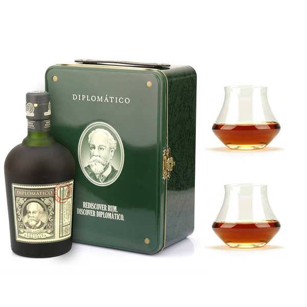 Destilerias Unidas Coffret cadeau Rhum Diplomatico valise diplomatique et ses 2 verres - 1 bouteille en coffret de 70cl et 2 verres