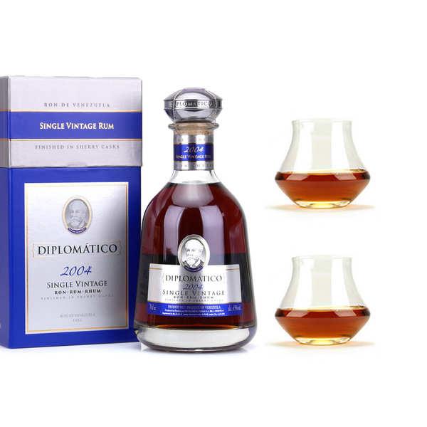 Destilerias Unidas Diplomatico Single Vintage - Rhum du Venezuela - 43% et ses 2 verres - 1 bouteille de 70cl et 2 verres