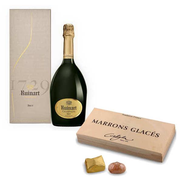 BienManger.com Marrons glacés Corsiglia et champagne R de Ruinart - Marrons glacés et Champagne