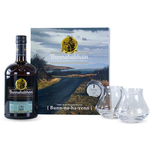 Bunnahabhain Distillery Coffret whisky Bunnahabhain Stiùireadair - 2 verres - Coffret bouteille 70cl + 2 verres Warm Chef & Sommelier