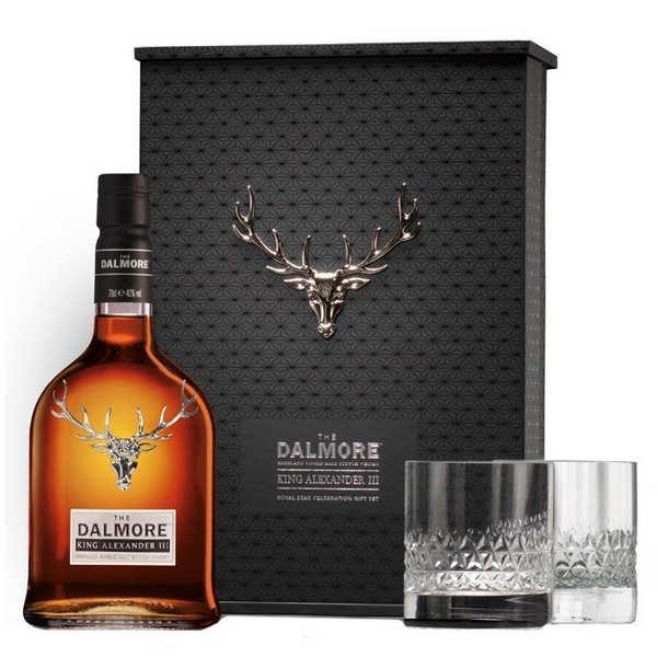 Dalmore King Alexander III Coffret whisky 2 verres 40 % - Coffret bouteille 70 cl + 2 verres