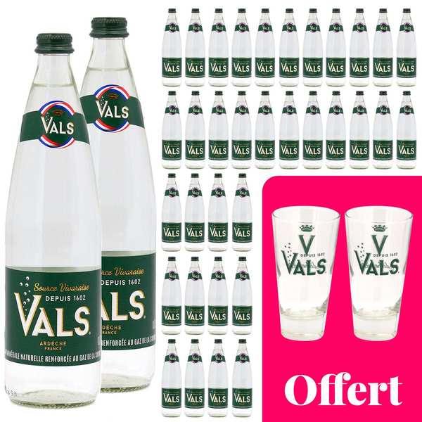Vals 36 bouteilles d'eau gazeuse Vals et 2 verres offerts - 36 bouteilles de 75cl + 2 verres offerts