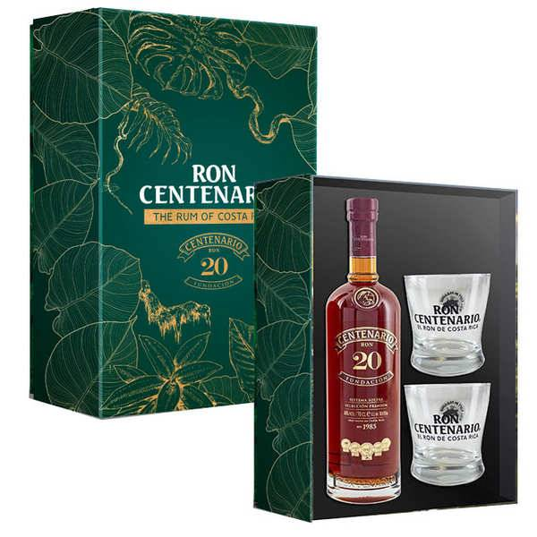 Centenario Coffret cadeau Rhum Centenario 20 ans 2 verres - Coffret bouteille 70cl + 2 verres
