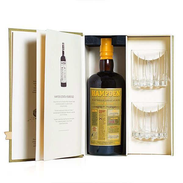 Hampden Coffret cadeau livre rhum Hampden 8 ans + 2 verres - Bouteille 70cl + 2 verres