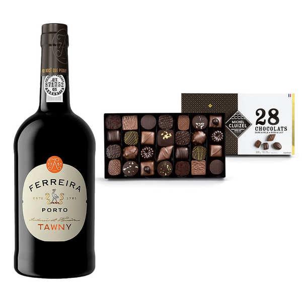 BienManger.com Porto rouge Ferreira Tawny et coffret de chocolat Michel Cluizel - Lot porto rouge + chocolats