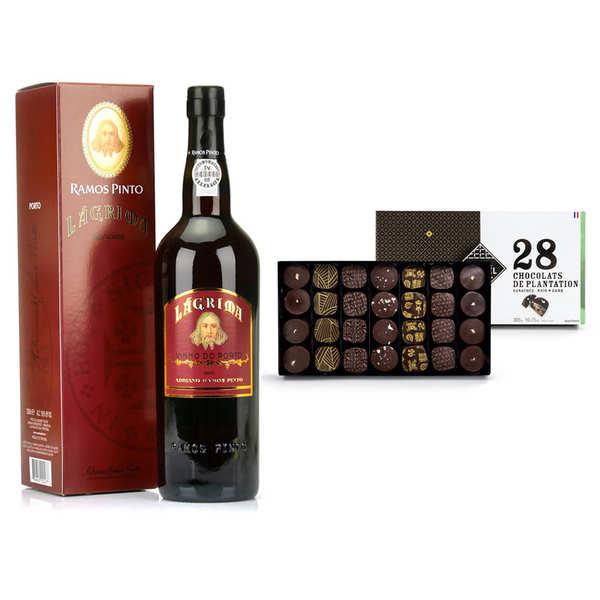 BienManger.com Porto Lagrima Ramos Pinto et coffret ganaches chocolat noir Michel Cluizel - Lot bouteille de porto rouge + coffret de chocolat