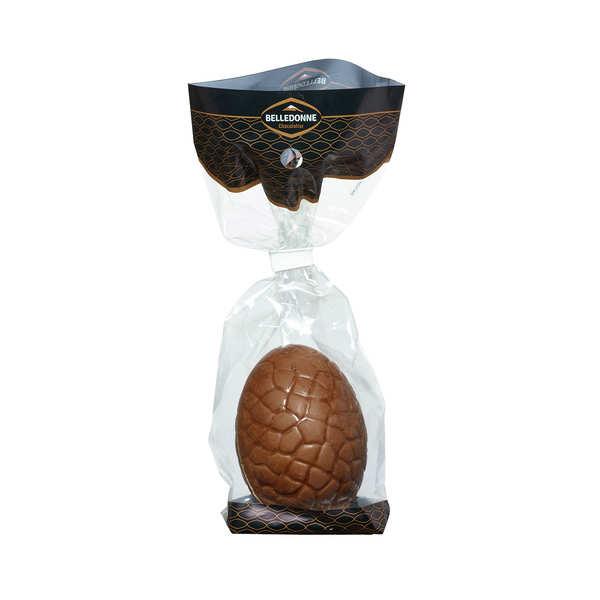 Belledonne Chocolatier Oeuf à cacher bio au chocolat lait ou noir - Oeuf chocolat au lait 30g
