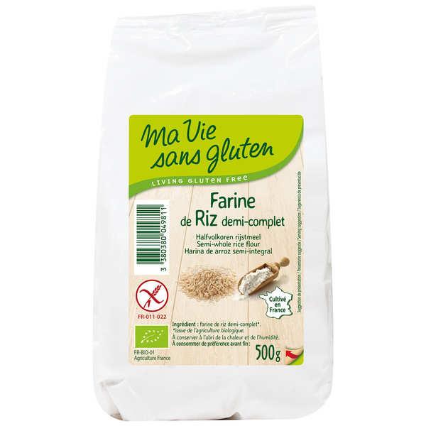 Ma vie sans gluten Farine de riz  demi-complète bio garantie sans gluten - Sachet 500g