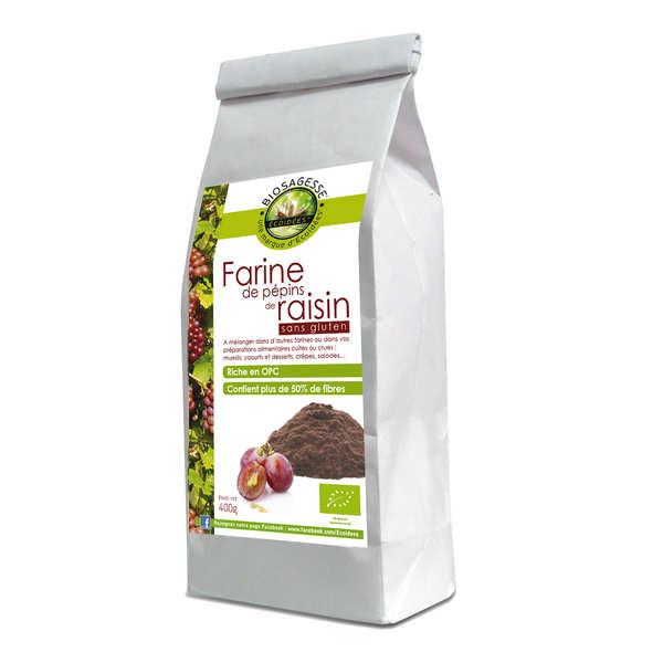 Biosagesse Farine de pépins de raisin bio sans gluten - Sachet 400g