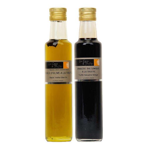 Truffières de Rabasse Duo huile d'olive et vinaigre balsamique de Modène à la truffe noire - les 2 bouteilles de 250ml