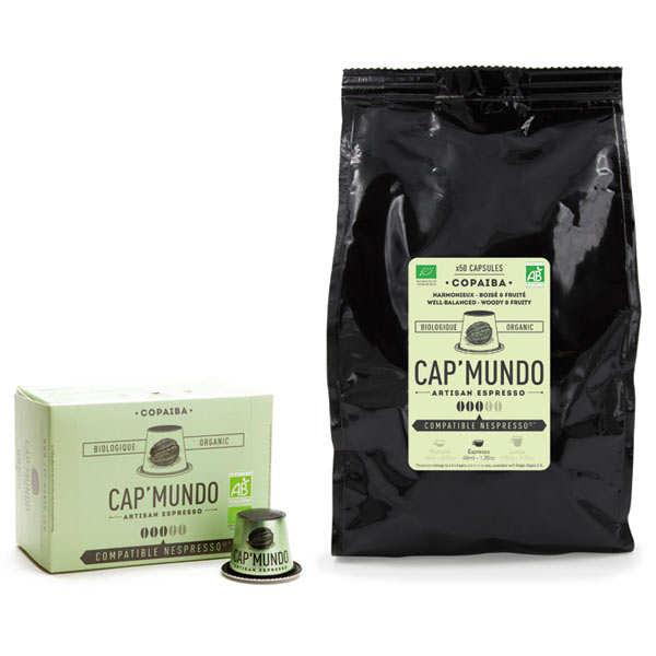 Cap'Mundo Café Copaiba bio, capsules compatibles Nespresso® - Force 3/5 - Boite distributrice 100 capsules