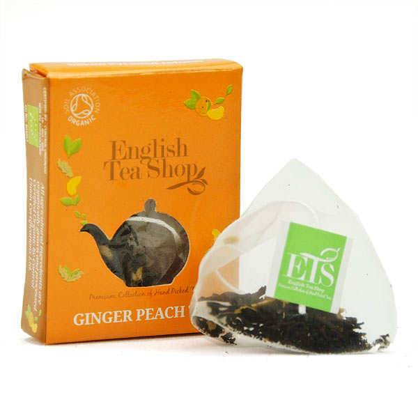 English Tea Shop Thé noir pêche gingembre bio - sachet individuel - 3 sachets mousseline