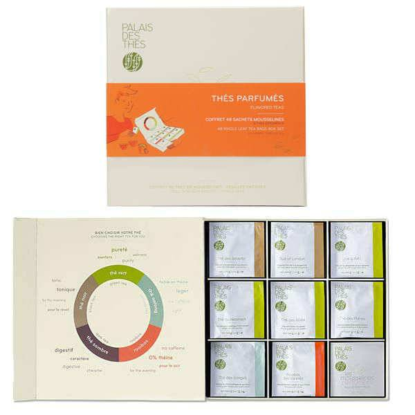Palais des Thés Sélection de Thés en Mousselines - feuilles entières - Coffret 48 mousselines de thé