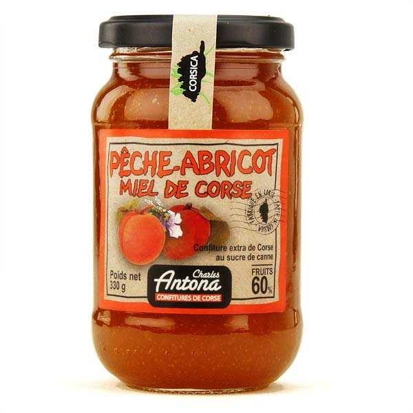 Charles Antona Confiture extra de Corse bio Pêche-abricot-miel - 3 pots de 350g