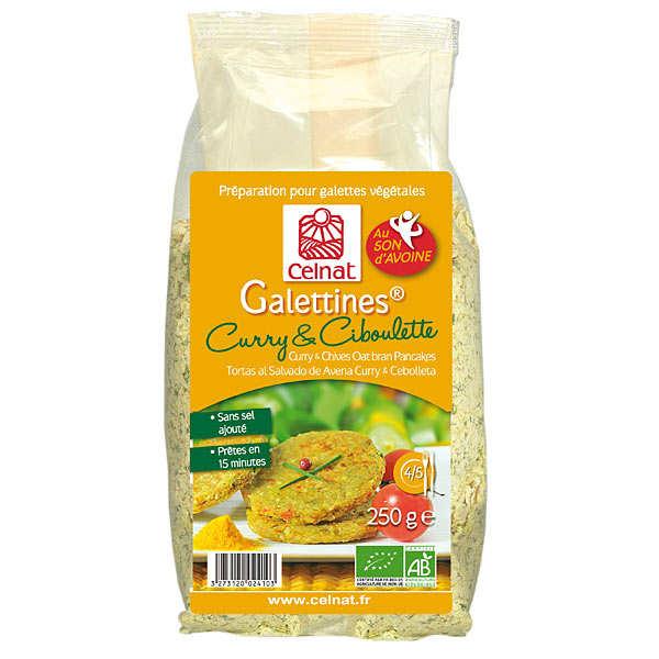 Celnat Galettines son d'avoine curry et ciboulette bio - Sachet 250g