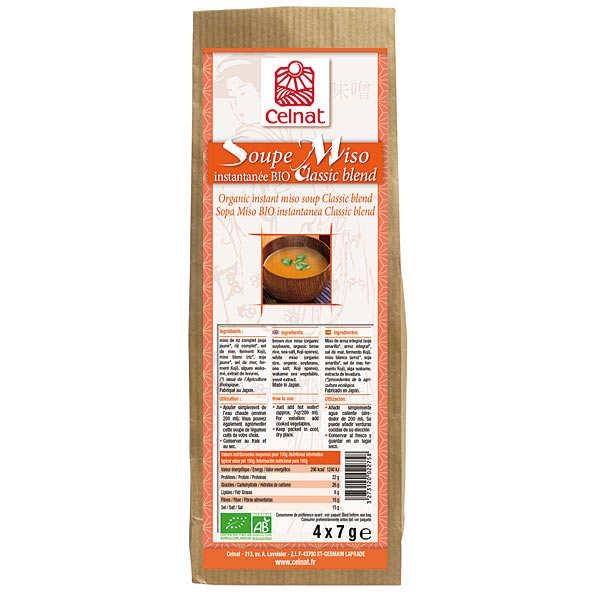 Celnat Soupe Miso instantanée Classic blend bio - Boite 4 sachets (28g)
