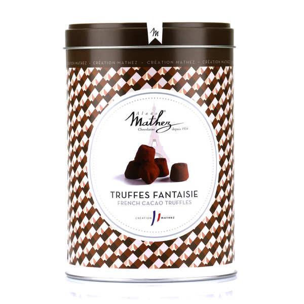 Chocolat Mathez Truffes fantaisie éclats de fève de cacao en boite fer vintage - 3 boites de 500g
