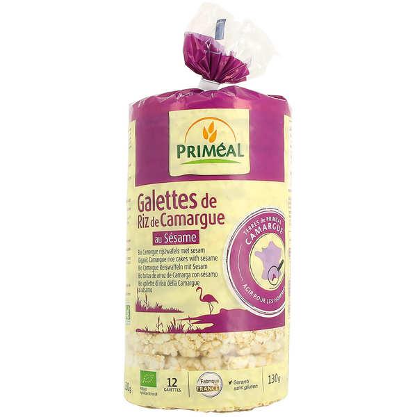 Priméal Galettes de riz de Camargue au sésame Bio sans gluten - 3 sachets de 130g