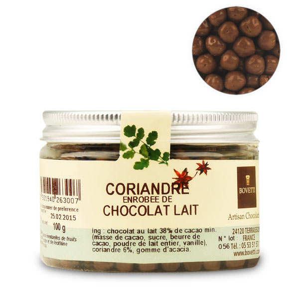 Bovetti chocolats Chocolats apéritifs à la coriandre enrobés de chocolat au lait - Boîte plastique 100g