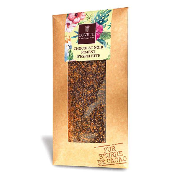 Bovetti chocolats Tablette chocolat noir piment d'espelette - 10 tablettes de 100g