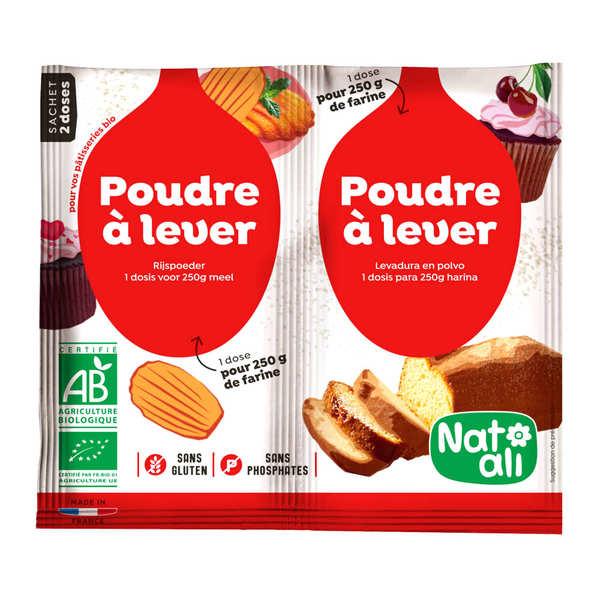 Nat-Ali Poudre à lever sans gluten et sans phosphate bio (alternative à la levure) - les 2 sachets de 7g pour 250g de farine