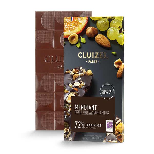 Michel Cluizel Tablette chocolat noir 72% aux fruits secs (mendiant) - Tablette 100g