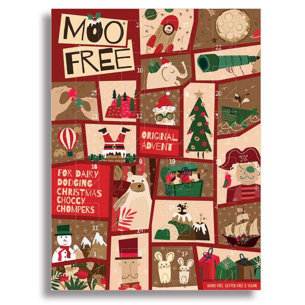 Moo Free Calendrier de l'avent chocolats au lait vegan sans lactose et sans gluten - Le calendrier - 24 chocolats