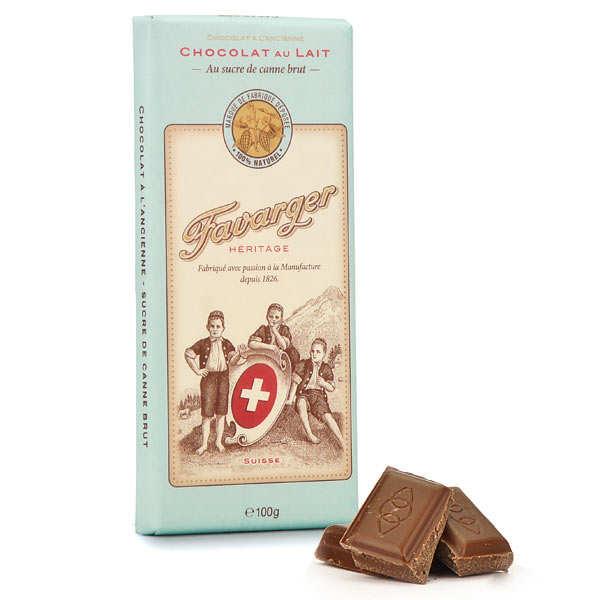 Favarger Tablette de chocolat suisse au lait à l'ancienne - Tablette 100g