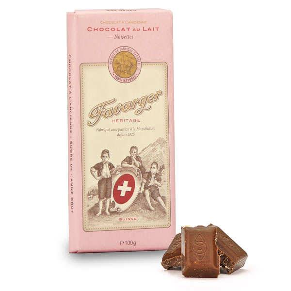 Favarger Tablette de chocolat suisse au lait et noisettes - 6 tablettes de 100g