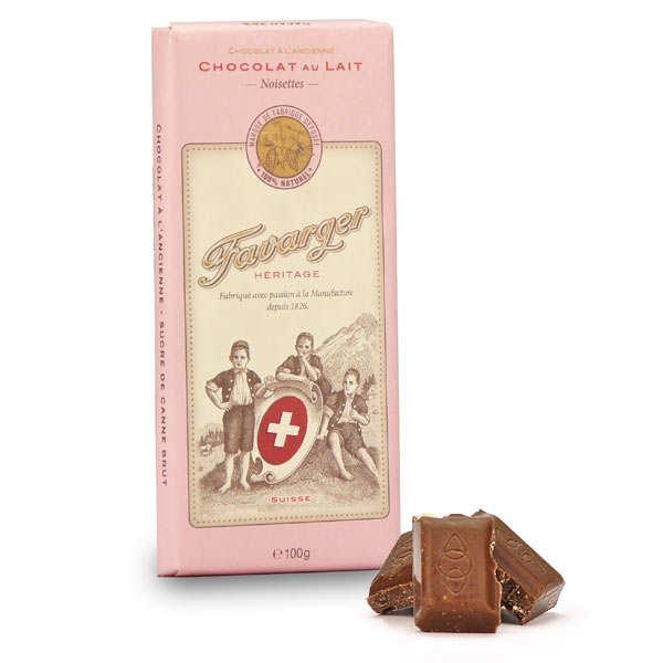 Favarger Tablette de chocolat suisse au lait et noisettes - Tablette 100g