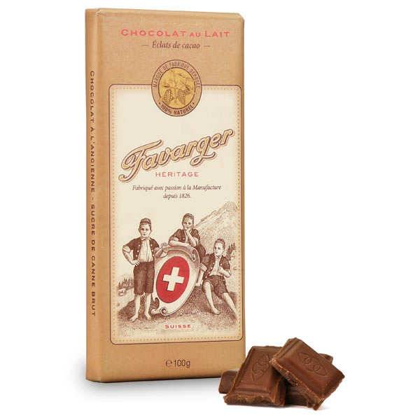 Favarger Tablette de chocolat suisse au lait et éclats de cacao - Tablette 100g