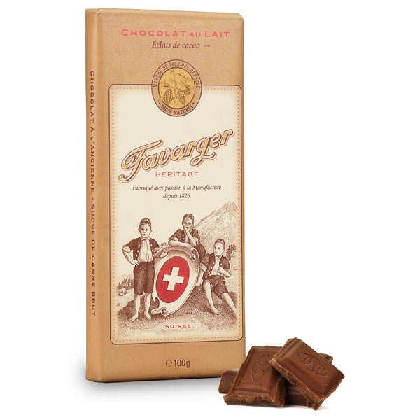Favarger Tablette de chocolat suisse au lait et éclats de cacao - 3 tablettes de 100g