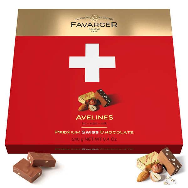 Favarger Boîte de chocolats croix suisse 24 Avelines originales au praliné - Favarger - Boite croix 240g