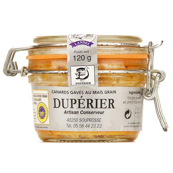 Duperier et fils Foie gras de canard entier du Sud-Ouest au piment d'Espelette - Bocal 120g - 2/3 parts