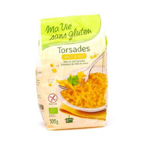 Ma vie sans gluten Torsades maïs et riz - pâtes bio sans gluten - Sachet 500g