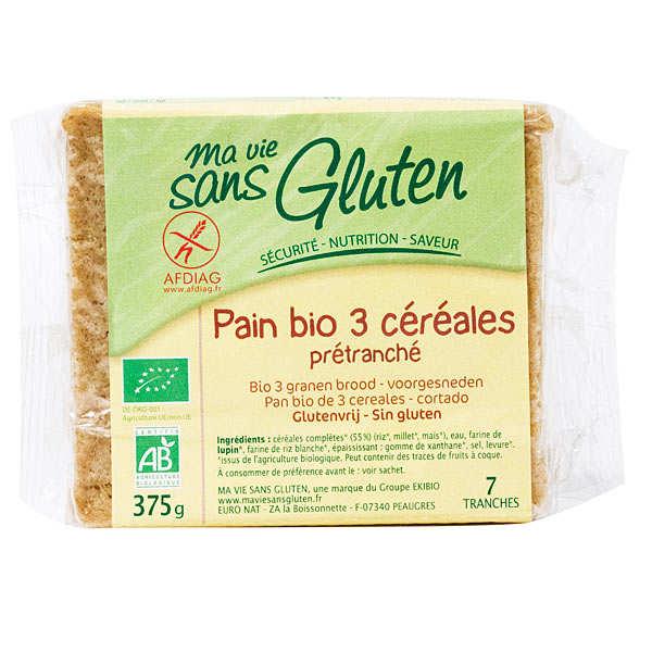 Ma vie sans gluten Pain bio aux 3 céréales - sans gluten - Sachet 375g
