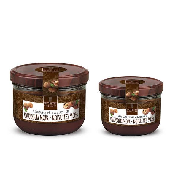 Bovetti chocolats Véritable pâte à tartiner noisette chocolat noir sans huile de palme - Pot 200g