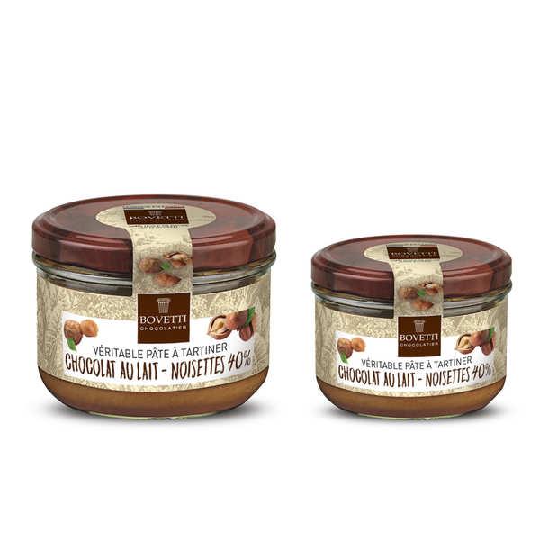Bovetti chocolats Véritable pâte à tartiner noisette chocolat au lait sans huile de palme - 2 pots de 350g