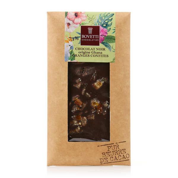 Bovetti chocolats Tablette chocolat noir orange - Lot de 2 tablettes de 100g