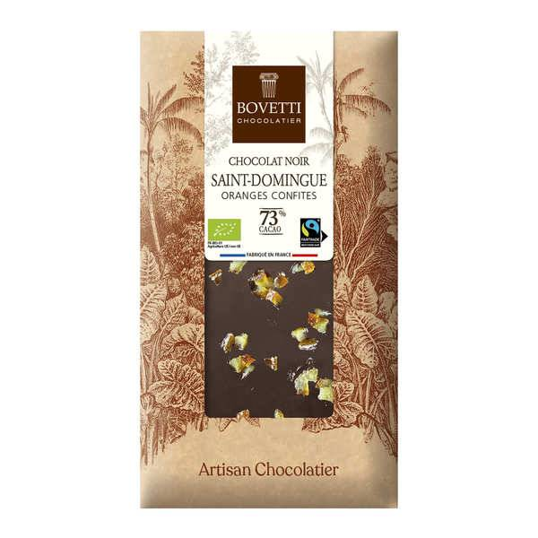 Bovetti chocolats Tablette chocolat noir orange - Lot de 2 tablettes de 100g