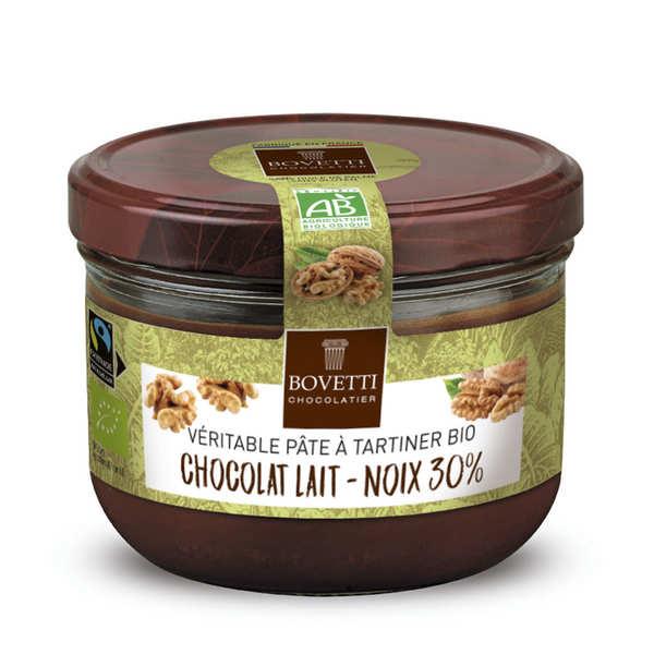 Bovetti chocolats Véritable pâte à tartiner chocolat au lait et noix sans huile de palme - Pot 200g